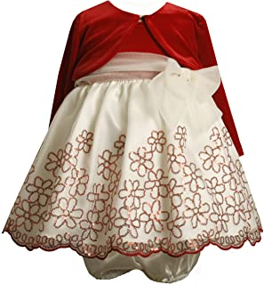 Bonnie Baby Girls' Stretch Velvet Bodice to Organza Skirt with Jacket