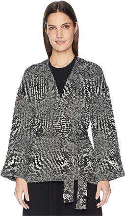 Hand Woven Peruvian Organic Cotton Bracelet Sleeve Kimono Jacket with Belt