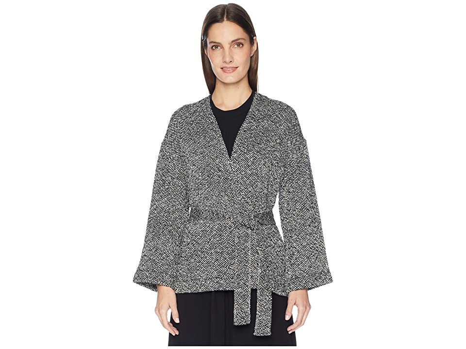 Eileen Fisher Hand Woven Peruvian Organic Cotton Bracelet Sleeve Kimono Jacket with Belt (Black) Women