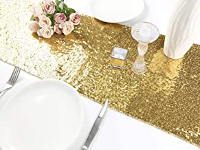Rutien Sequin Table Runners Gold 5 pack 12x108 inch Sparkly for Wedding/Birthday Party