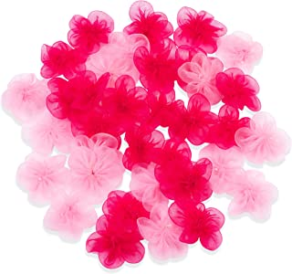 Craft Flowers - 50-Pack Chiffon Flower Embellishments, 1.4-Inch Chiffon Fabric Flowers for Craft, DIY Wedding Decorations, Ornaments, Light Pink and Hot Pink