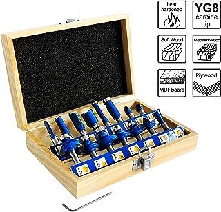 S&R Router Bit Set 15 st, HM, Skaft 8 mm, Smidda verktygsstål, Skärplattor av HM i trälåda