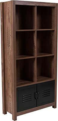 "Flash Furniture New Lancaster Collection 59.5""H 6 Cube Storage Organizer Bookcase with Metal Cabinet Doors in Crosscut Oak Wood Grain Finish"