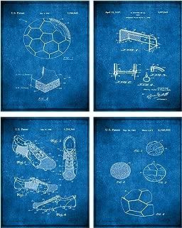 TheNameStore Soccer Patent Print Wall Art - Set of Four Fine Art Photos 8x10 Unframed - Great Gift for Soccer Player Decor (Blueprint)