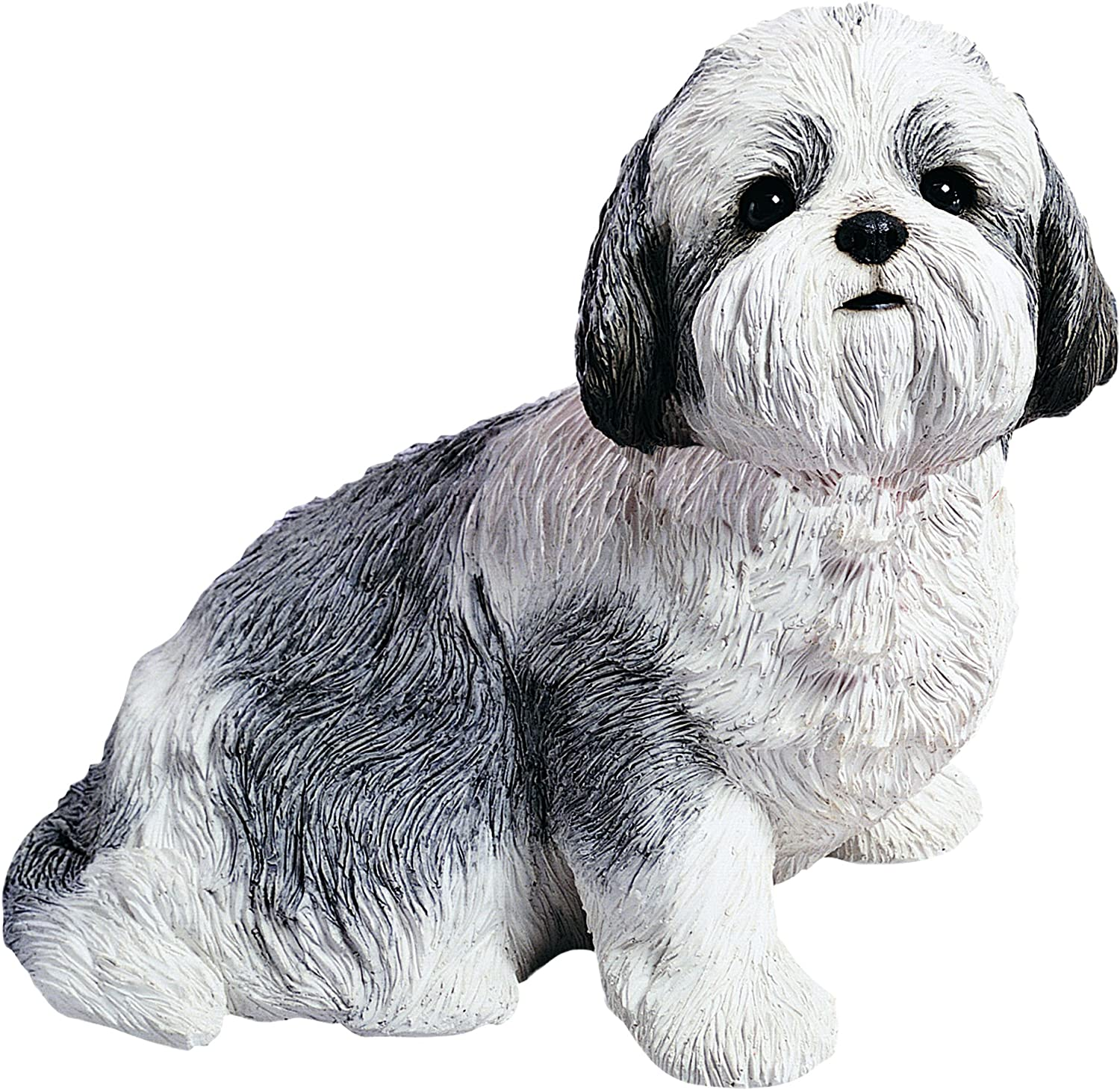 Sandicast Silver and White Shih Tzu Sculpture, Sitting, Life Size