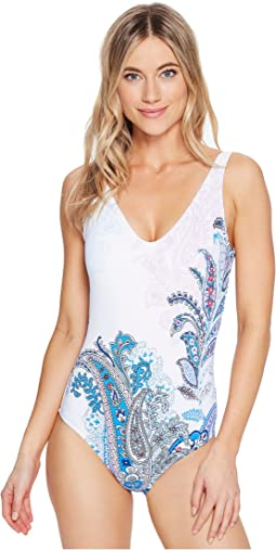 Paisley Leaves Plunge Tank One-Piece Swimsuit