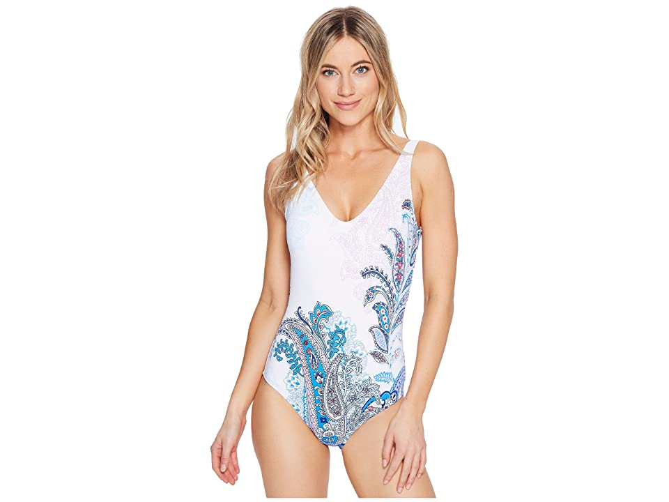 Tommy Bahama Paisley Leaves Plunge Tank One-Piece Swimsuit (White) Women's Swimsuits One Piece