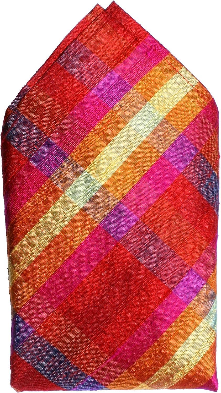 Red Pink Purple Checks 100% Silk Dupioni Pocket Square by Royal Silk - Full-Sized 16