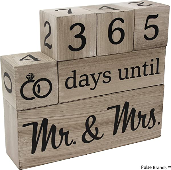 Wedding Countdown Calendar Wooden Blocks Engagement Gifts Bride To Be Bridal Shower Gifts Bride Gifts Engagement Gifts For Couples Engaged Rustic Finish With Black Numbers