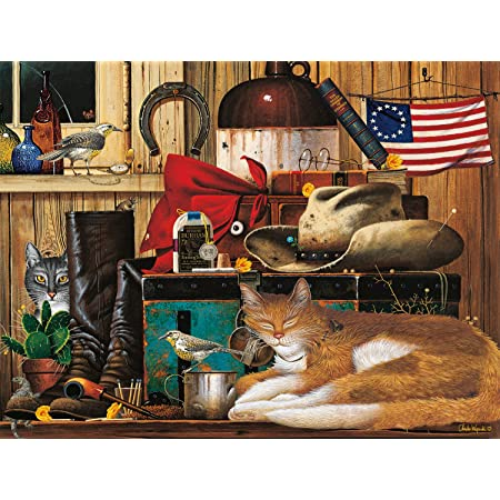 Amazon Com Buffalo Games The Cats Of Charles Wyoscki Travelling Cowboy 750 Piece Jigsaw Puzzle Toys Games