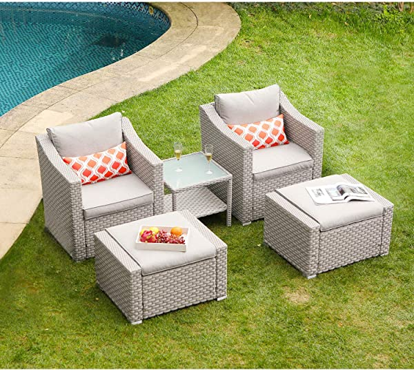 COSIEST 5 Piece Outdoor Furniture Lounge Set Warm Gray Wicker Sectional Sofa W Thick Cushions Glass Top Table 2 Ottomans 2 Coral Pattern Pillows For Garden Pool Backyard