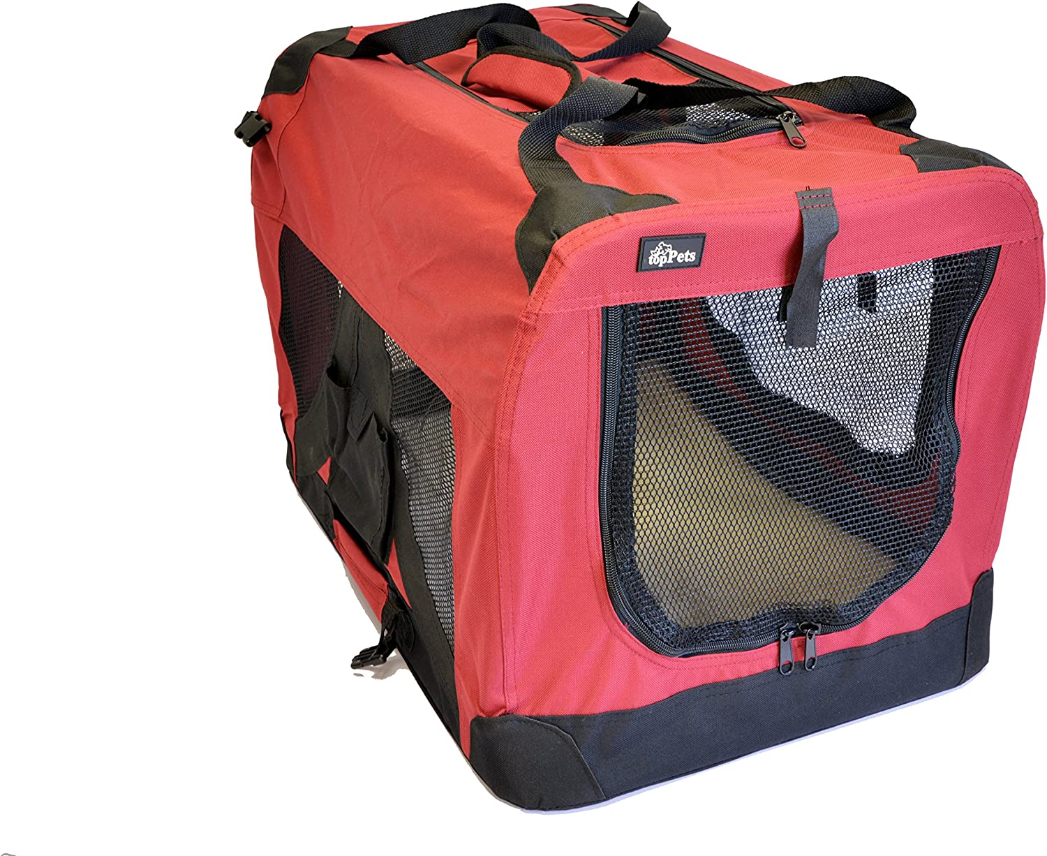 Kaylaism Red SoftSided Medium Folding Pet Travel Carrier Crate