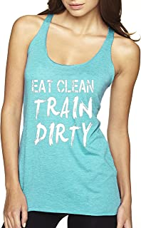339 - Women's Tank-Top Eat Clean Train Dirty Workout Training Gym