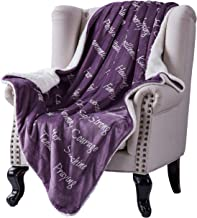 Bedsure Healing Thoughts Blanket Throw Size Purple Inspiration Courage Hope Prayer Comfort Throws Caring Gifts