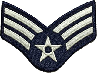 Papapatch Senior Airman Chevrons Rank US Air Force USAF Military U.S. Army Morale Applique Embroidered Sewing Iron on Emblem Badge Patch - Blue and Silver (1 Piece) (SENIOR-AIRMAN-BLUE)