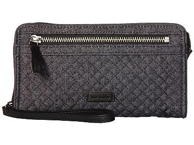 Vera Bradley Iconic RFID Front Zip Wristlet (Denim Navy) Wristlet Handbags
