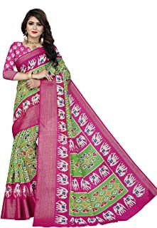 Divine International Trading Co Women's Cotton Patola Printed Pochampally Ikat Indian Saree with Unstitched Blouse Piece