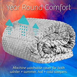 Adult Weighted Blanket with Minky Cover: Queen Size 15 Pound Heavy Sensory Comforter Helps to Aid Sleep and Promote Relaxation   for Adults Between 120 and 180 Pounds - 60 x 80 Inches, Gray