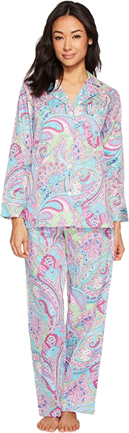 LAUREN Ralph Lauren - Petite Sateen Notch Collar Pajama
