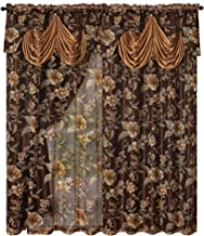 GOHD Golden Ocean Home Decor Roman Romance. Burnt-Out Printed Organza Window Curtain Panel Drape with Attached Fancy Valan...