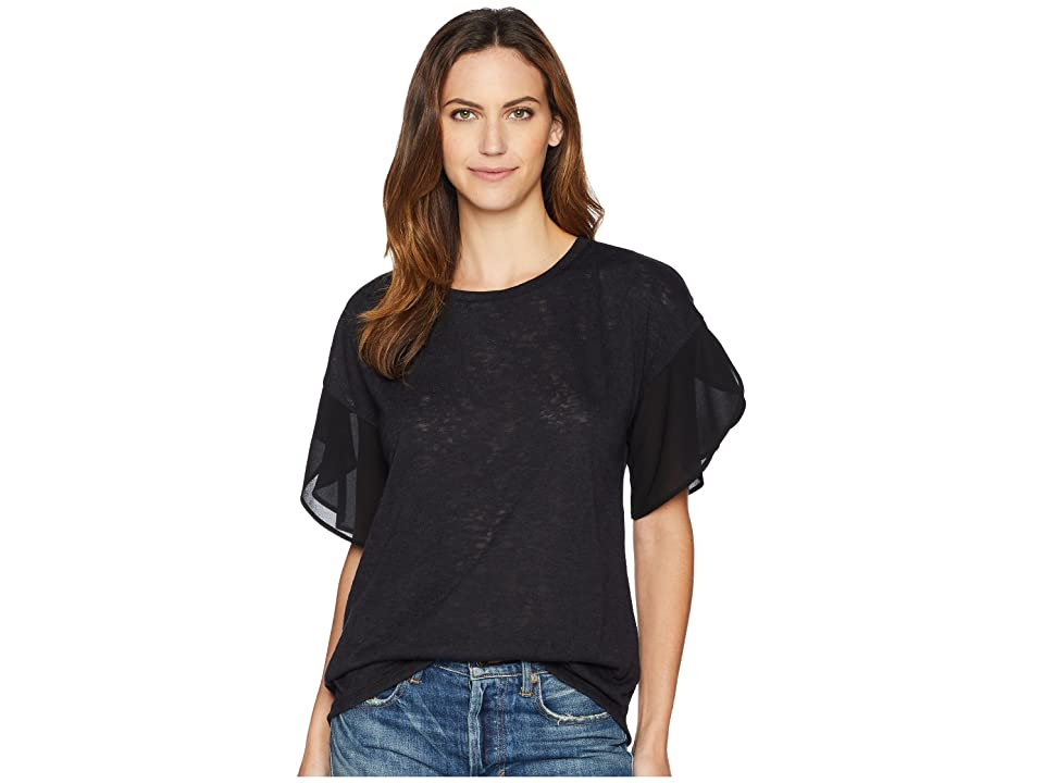 B Collection by Bobeau Hadley Woven Sleeve Slub Top (Black) Women's Short Sleeve Pullover