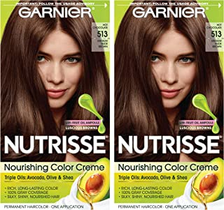 Garnier Nutrisse Nourishing Permanent Hair Color Cream, 513 Medium Nude Brown (2 Count) Brown Hair Dye
