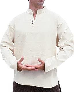 Raan Pah Muang RaanPahMuang 软光印花棉质衬衫 中国领口 双纽扣长袖