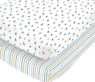 Carter's 100% Cotton Sateen 2 Piece Dino and Blue Navy Stripe Fitted Crib Sheets, Blue/Green/Gold/White