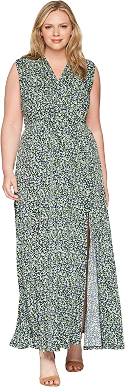 Plus Size Wildflowers Slit Maxi Dress