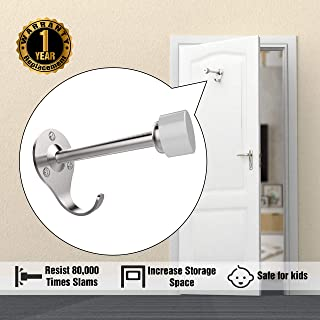 Door Stops, 4 Inch Stainless Steel Door Stopper Wall Mount with Extra Hook for Increase Storage Space to Office & Home Improvement, Protect Door & Wall Damage, Safe for Kid & Pet