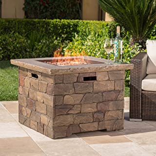 Christopher Knight Home 300713 Stonecrest Outdoor Propane Gas Fire Pit 40000BTU, Natural Stone