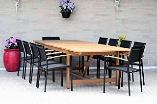 Brampton Rhodes 9-Piece Outdoor Dining Set | Teak Finish and Sling Chairs| Perfect for Patio and Backyard, Black
