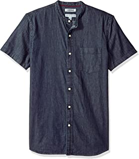 Amazon Brand - Goodthreads Men's Standard-Fit Short-Sleeve Band-Collar Denim Shirt