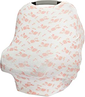 aden + anais Snuggle Knit 6-in-1 Stretchy Multi-Use Cover for Car Seat, Nursing, Cart, Baby Swing, High Chair, Infinity Scarf, Rosettes