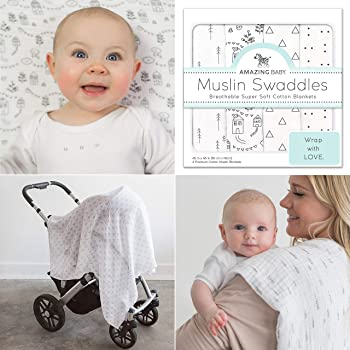Amazing Baby Muslin Swaddle Blankets, Set of 4, Premium Cotton, Little Village and Trees, Black