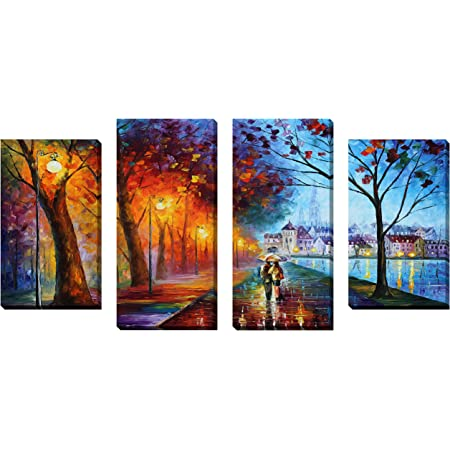 Quot City By The Lake Quot By Leonid Afremov 4 Piece Painting Print On Wrapped Canvas Set