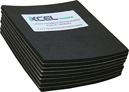 """XCEL Value Pack, Neoprene Foam Anti Vibration Pads with Adhesive 6"""" X 6"""" X 1/4"""", Made in USA (8 Pieces)"""
