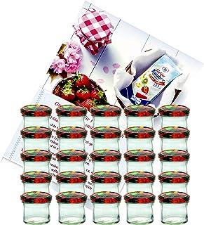 MamboCat Lot de 25 bocaux en verre pour conservation de confiture avec couvercle à motif de fruits to 66 - Capacité : 125 ...
