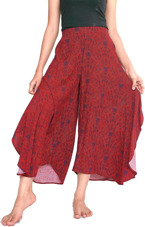 Kesornphusa Women's Hippie Boho Bohemian Wide Leg Waist 26 Inch to 36 Inch Casual Beach Summer Pants