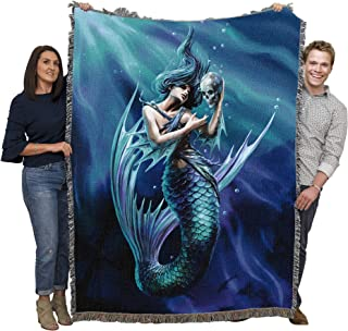 Pure Country Weavers Gothic Mermaid Fantasy Throw Blanket, Sailor's Ruin by Anne Stokes– Mermaid with Skull Woven Tapestry w/Cotton Fringe (72x54) Made in USA