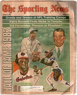 The Sporting News Newspaper Aug 2, 1982 Hall of Fame Jackson Robinson Aaron GOOD