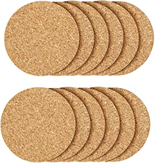 12 Pcs Cork Coaster for Drink , Absorbent Heat Resistant Reusable Tea or Coffee Coaster, Blank Coasters for Crafts