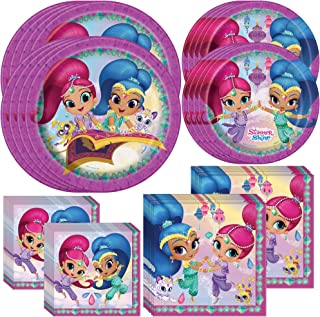 Unique Shimmer and Shine Birthday Party Supplies and Decorations | Dinner and Dessert Paper Plates, Luncheon and Beverage Paper Napkins