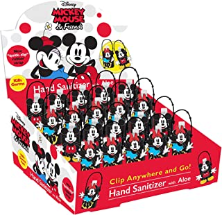 Disney Portable Hand Sanitizer with Mickey & Minnie Mouse Holder, White Citrus, 36 Count