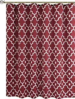 Biscaynebay Textured Fabric Shower Curtains, Morocco Pearl Printed Bathroom Curtains, Red Burgundy 72 by 72 Inches