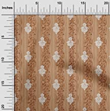oneOone Polyester Lycra Tan Fabric Stripe,Leaves & Floral Block Sewing Material Print Fabric by The Meter 56 Inch Wide