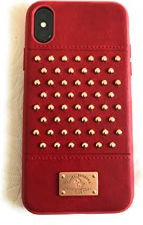 Apple iPhone X Staccato Santa Barbara Polo Racquet Club Leather Luxury Case (Red)