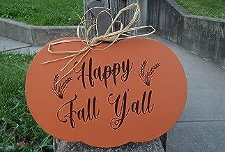 JokeKKK000 Fall Festive Door Decor Pumpkin Happy Fall Yall with Wheat Silhouette Wood Wood Sign Entry Door Harvest Decor Thanksgiving Decorations Art