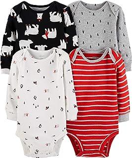 Carter's Unisex Baby 4-Pack Long-Sleeve Bodysuits (Newborn, Boys Red/Multi)