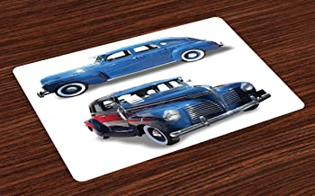 Ambesonne Vintage Car Place Mats Set of 4, Picture of Old Antique Cars Historical Automobile Nostalgic in Vintage Style, Washable Fabric Placemats for Dining Room Kitchen Table Decor, Blue Red